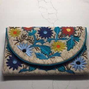 Embroidered Floral Clutch Purse New!
